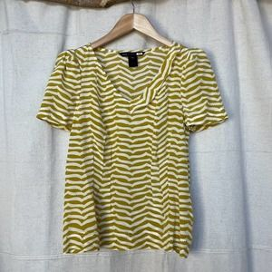 Marc by Marc Jacobs Squiggle Print Silk Fitted Top